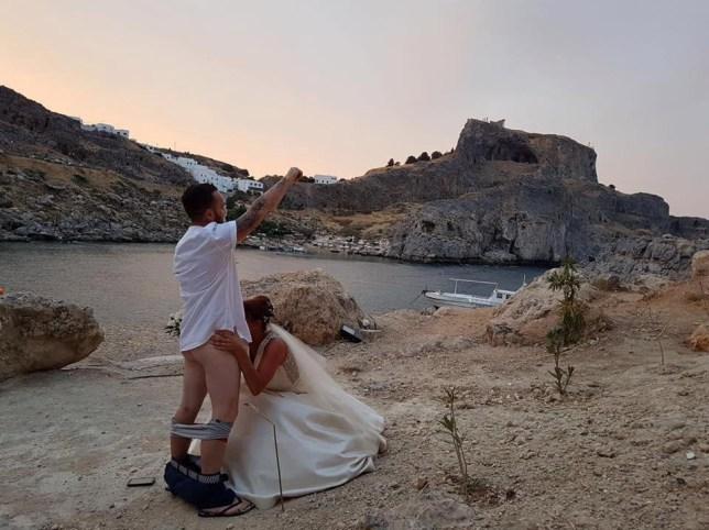 British couple's blow job wedding picture causes Greek