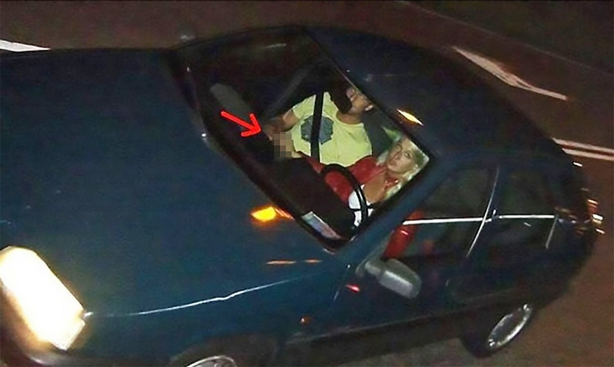 Couple caught in sex act behind the wheel by speed camera