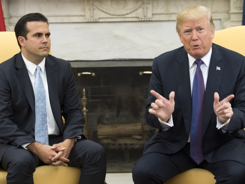 Watch Puerto Rico governor's face when Trump gives himself 10/10 for effort