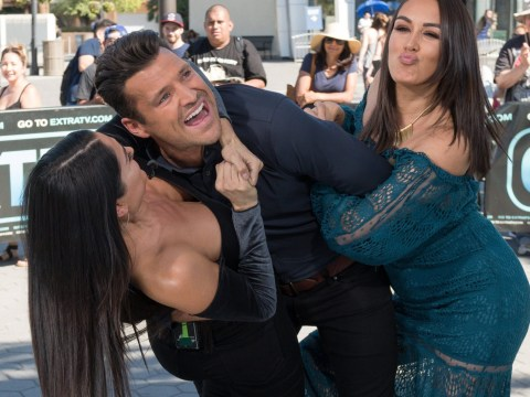 Mark Wright gets more than he bargained for as he wrestles with WWE's Bella twins