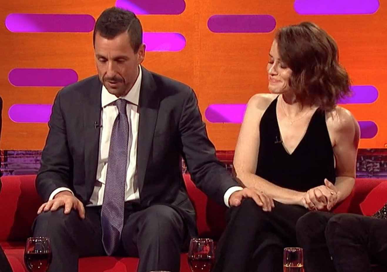 Claire Foy defends Adam Sandler and insists 'no offence was caused' as he is slammed for touching her knee during TV interview