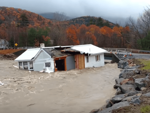 Severe flood washes house down river as storm batters New Hampshire