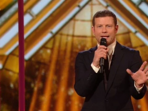 Dermot and the judges make light of Simon Cowell's fall down the stairs as he misses first X Factor live shows