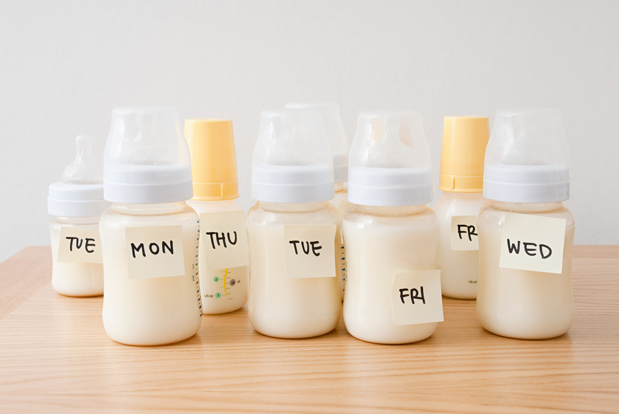 Breast milk stored in bottles with days of the week
