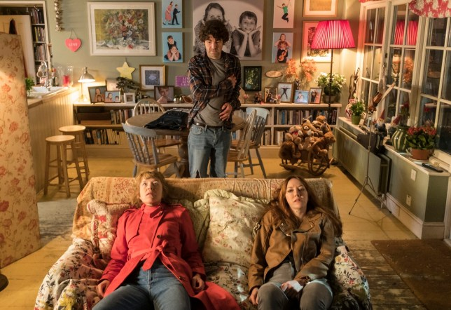 Programme Name: Motherland S1 - TX: n/a - Episode: Motherland S1 - Iconic (No. n/a) - Picture Shows: Kevin (PAUL READY), Julia (ANNA MAXWELL-MARTIN), Liz (DIANE MORGAN) - (C) Delightful Industries/Merman - Photographer: Colin Hutton
