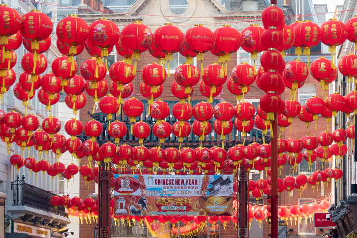 Chinese lanterns hanging up for Chinese New Year