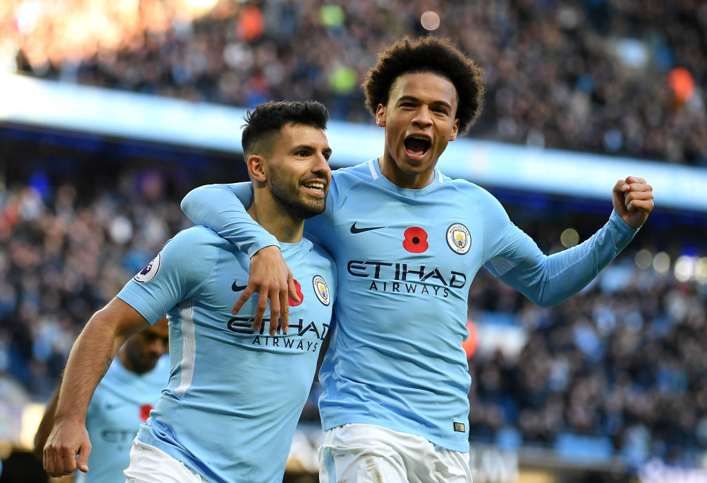 Sergio Aguero and Leroy Sane of Manchester City