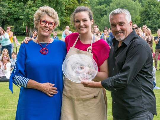 Embargoed to 2115 Tuesday October 31 NO SALES, NO ARCHIVE. CAN ONLY BE USED IN CONNECTION WITH CHANNEL 4'S THE GREAT BRITISH BAKE OFF Undated handout photo issued by Channel 4 of judges Prue Leith and Paul Hollywood with Sophie Faldo, who has been crowned the winner of The Great British Bake Off 2017. PRESS ASSOCIATION Photo. Issue date: Tuesday October 31, 2017. See PA story SHOWBIZ BakeOff. Photo credit should read: Mark Bourdillon/Channel 4 Television/PA Wire NOTE TO EDITORS: This handout photo may only be used in for editorial reporting purposes for the contemporaneous illustration of events, things or the people in the image or facts mentioned in the caption. Reuse of the picture may require further permission from the copyright holder. This picture may be used solely for Channel 4 programme publicity purposes in connection with the current broadcast of the programme(s) featured in the national and local press and listings. Not to be reproduced or redistributed for any use or in any medium not set out above (including the internet or other electronic form) without the prior written consent of Channel 4 Picture Publicity. Channel 4 images must not be altered or manipulated in any way.