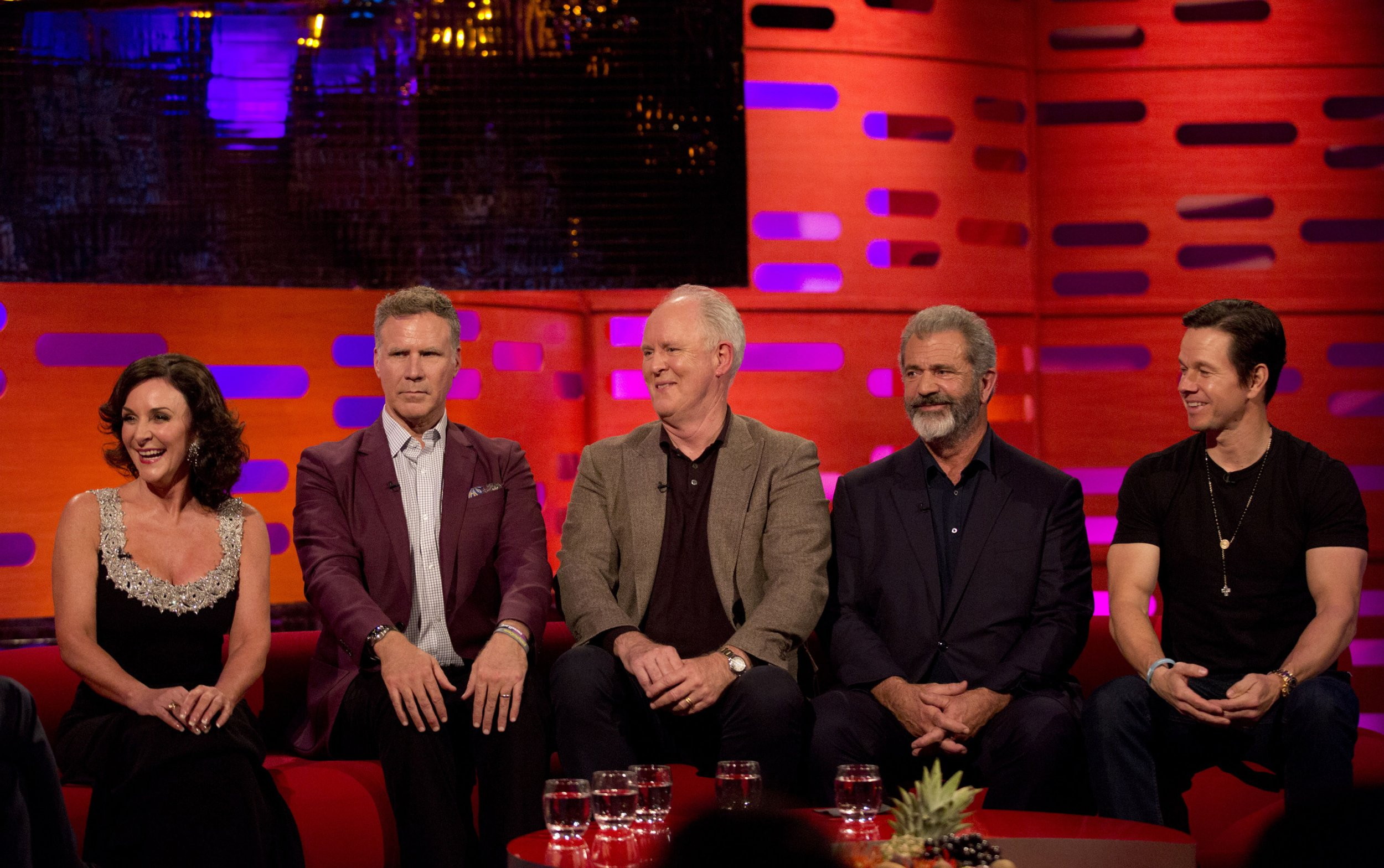 (left to right) Shirley Ballas, Will Ferrell, John Lithgow, Mel Gibson, and Mark Wahlberg, during the filming of the Graham Norton Show at The London Studios, south London, to be aired on BBC One on Friday evening. PRESS ASSOCIATION Photo. Picture date: Thursday November 16, 2017. See PA story SHOWBIZ Norton. Photo credit should read: PA Images on behalf of So TV.