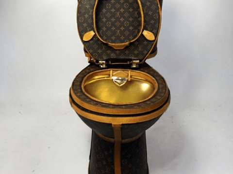 Someone's made a toilet from £15,000 worth of Louis Vuitton bags