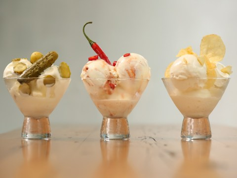 Would you eat pickled gherkin, Siracha chilli sauce or cheese and onion crisps flavoured ice cream?