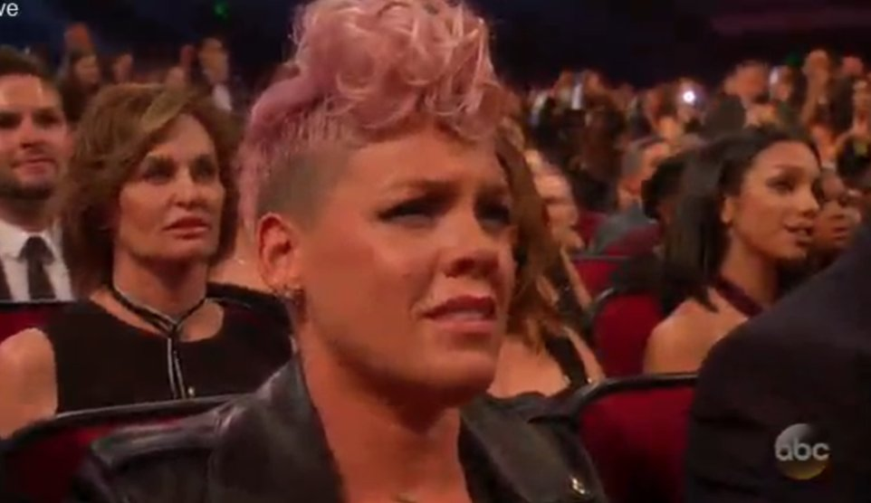 Pink in tears during Christina Aguilera's Whitney Houston tribute at 2017 American Music Awards