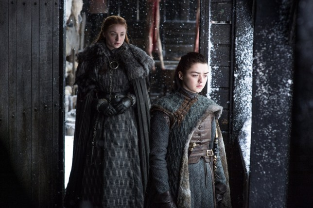 Maisie Williams and Sophie Turner in Game of Thrones