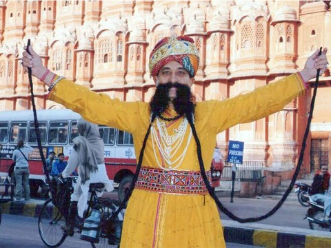 The world's longest moustache is 18.5 feet long and attached to this man's face