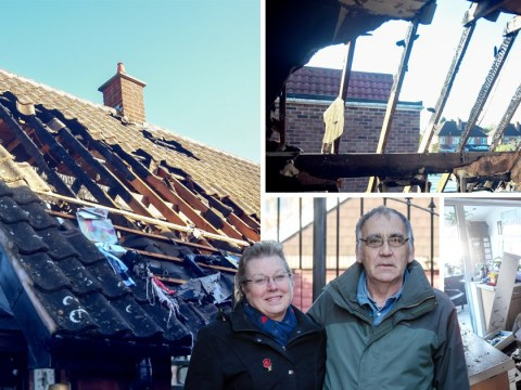 Couple's house totally destroyed after giant firework flies into roof