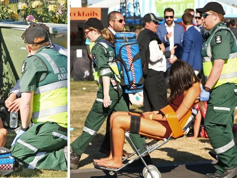 Paramedics use 'drunks chair' to wheel away racegoers who pass out