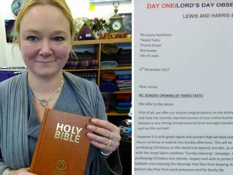 Shop owner sent copy of the Bible in revenge for opening on Sundays
