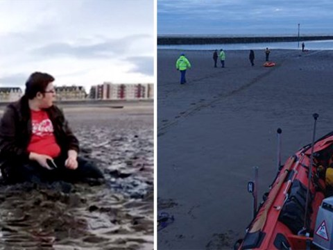Mother takes picture of son when they got stuck in mud as tide approached
