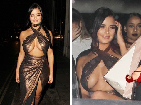 Demi Rose braves the British cold in daring metallic dress as she puts us to shame with two parties in one night