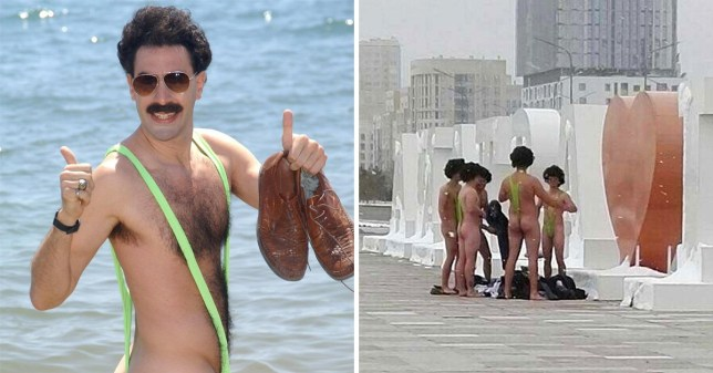 41c61479f5e8b Sacha Baron Cohen offers to help pay tourists' fines for wearing Borat  mankinis