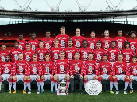 Arsenal release their annual Christmas jumper team photo – but one player is missing