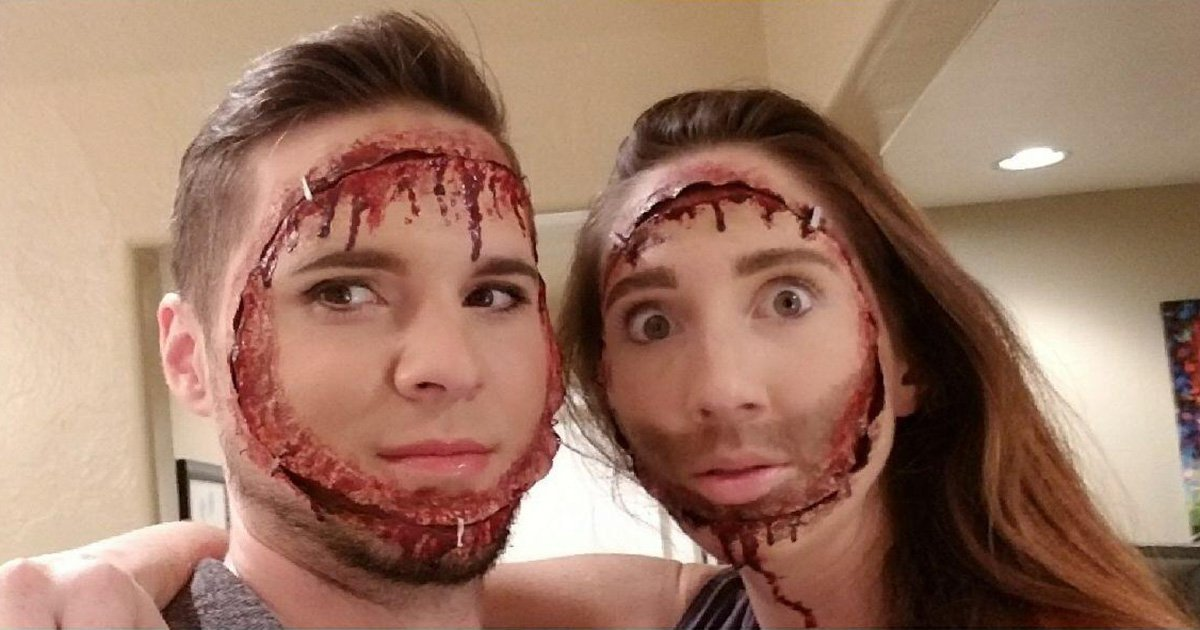 Couple's Snapchat face swap-inspired halloween costume is scarily good