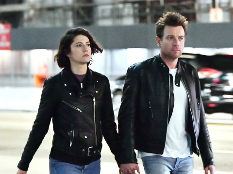 Ewan McGregor and Mary Elizabeth Winstead are hand-in-hand as they walk through LA
