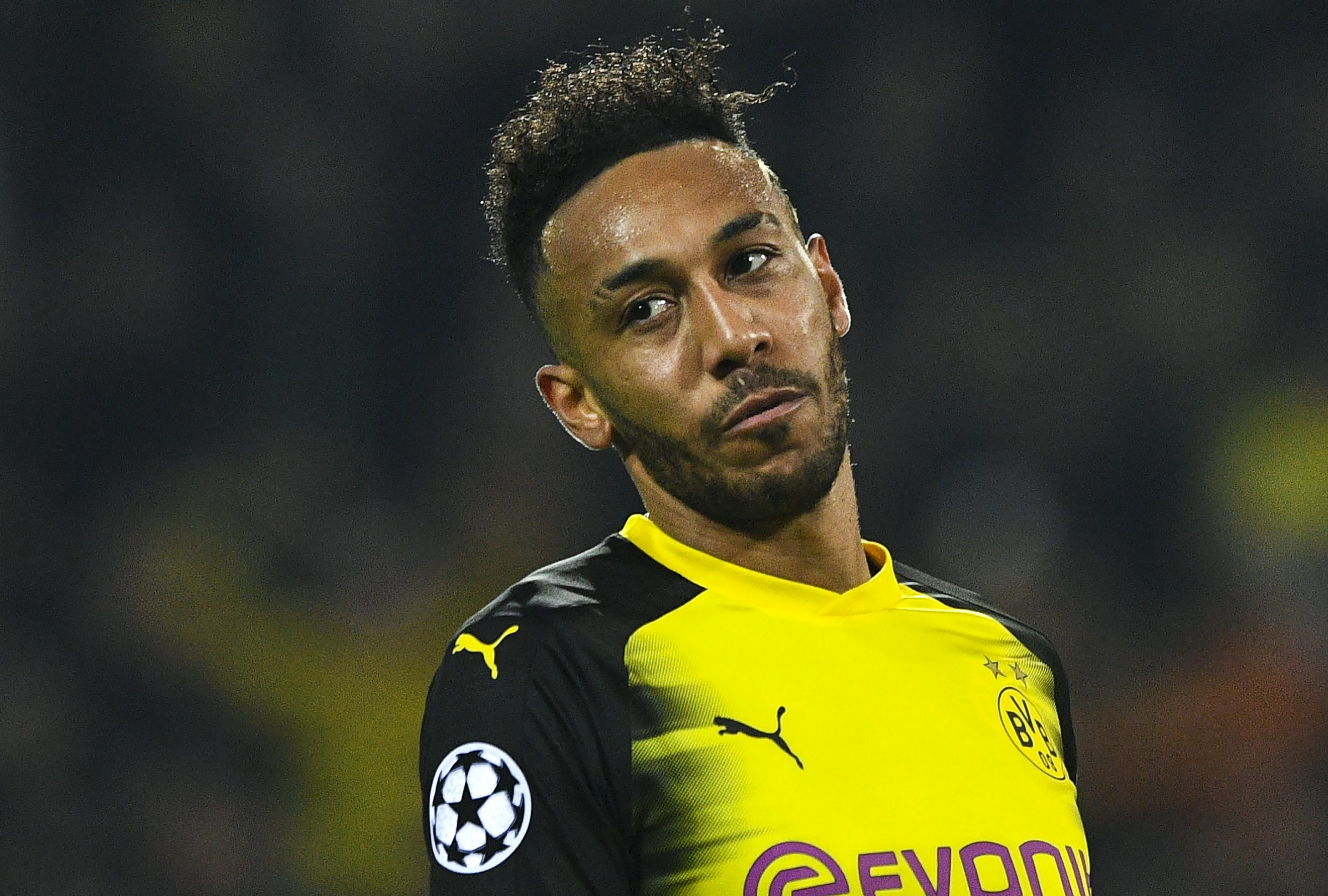 Pierre-Emerick Aubameyang looks dejected after missing a chance