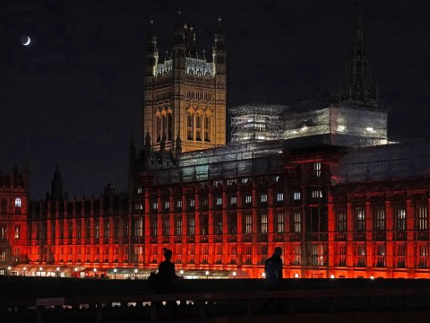 Why were the Houses of Parliament lit up in red?