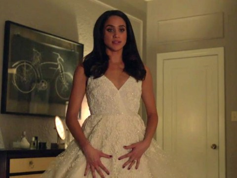 Meghan Markle looks divine in a wedding dress as Suits character Rachel Zane is getting married