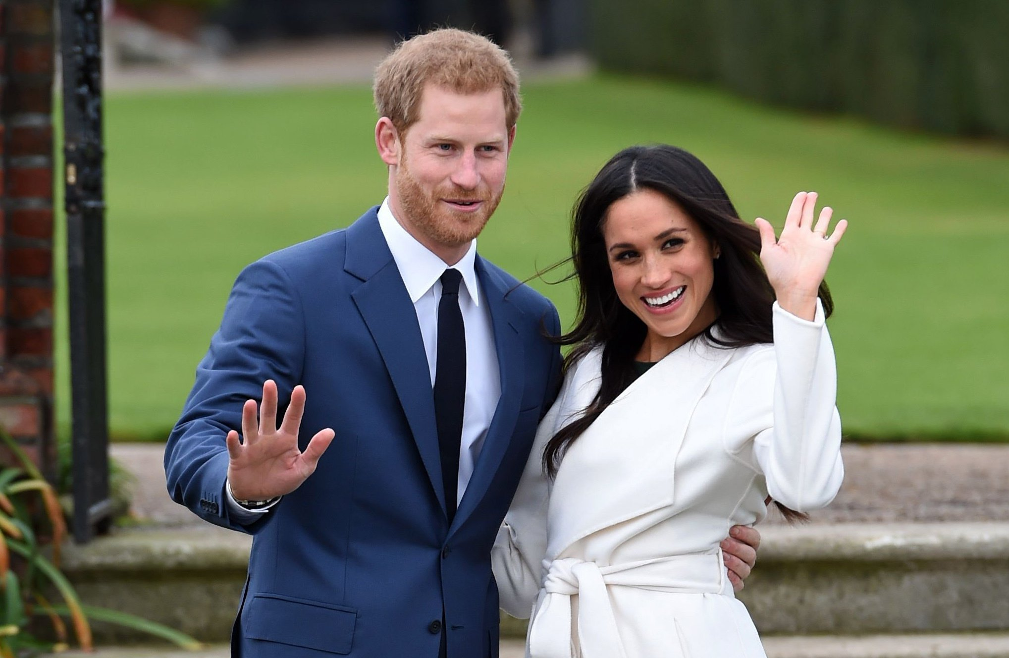 Prince Harry and Meghan Markle on the day they announced their engagement at Kensington Palace