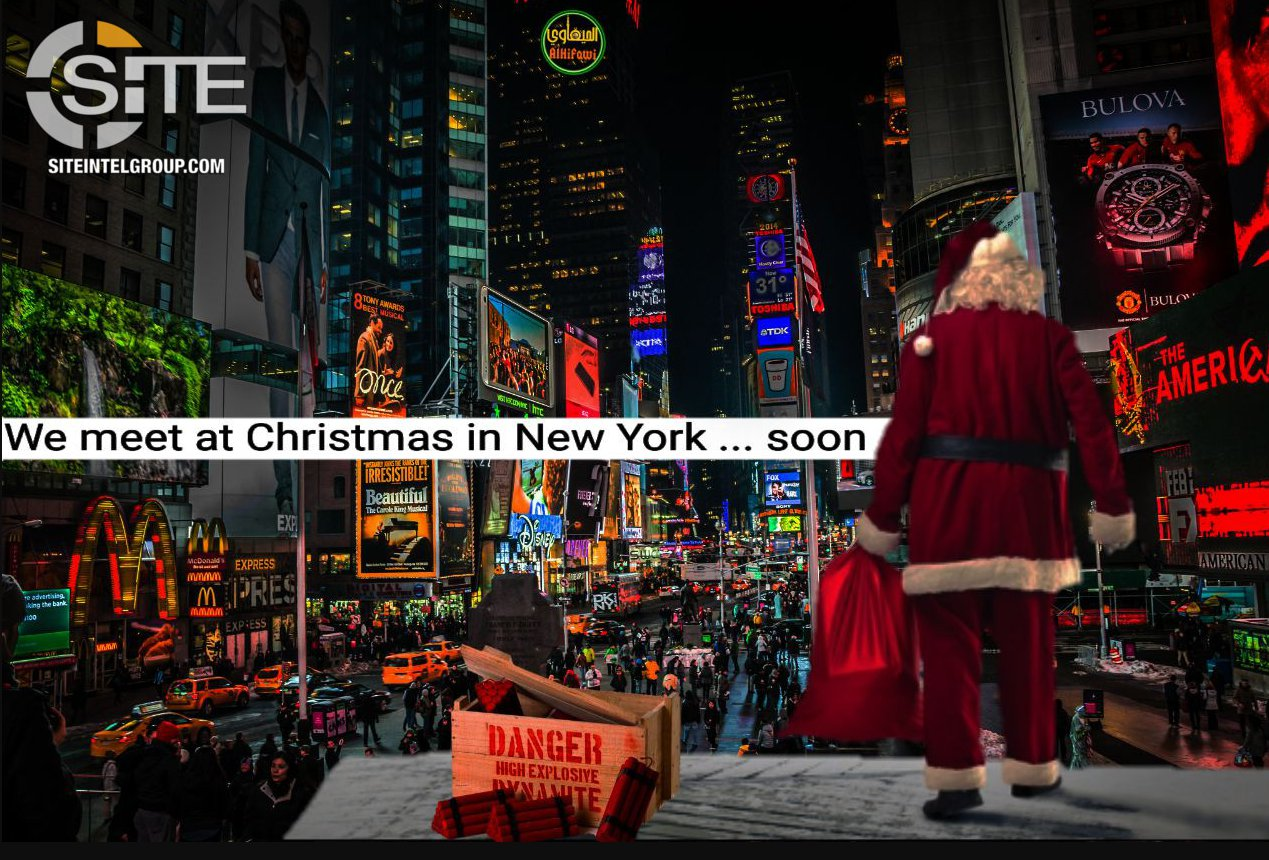 ISIS issue chilling threat showing Santa next to box of dynamite in Times Square