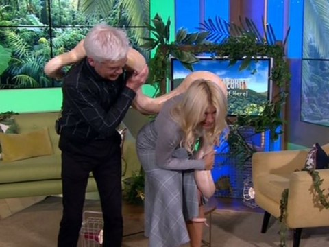Holly Willoughby finds herself in a tricky position with a rather large snake on This Morning