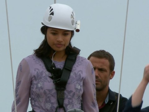 Jamie Lomas supports a quivering Vanessa White as she walks the plank in I'm A Celebrity teaser