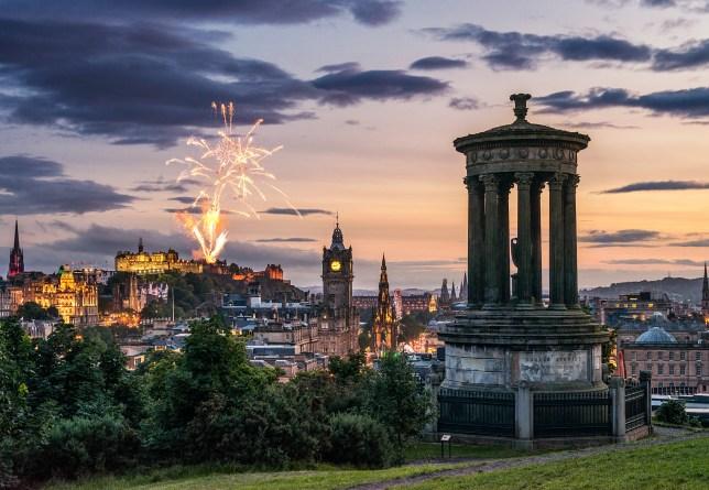 Hogmanay New Year's Eve fireworks in Edinburgh Scotland UK