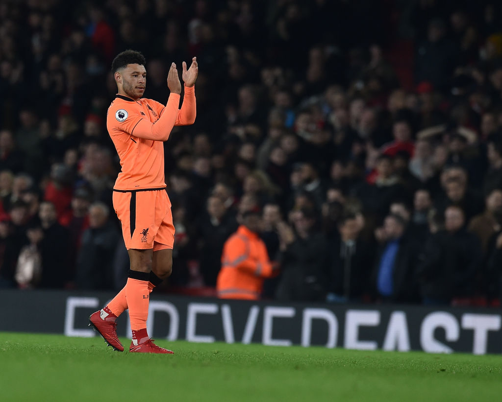 Alex Oxlade-Chamberlain applauds Liverpool and Arsenal fans after 3-3 draw at the Emirates