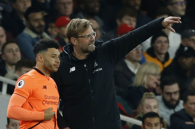 Jurgen Klopp gives orders to Alex Oxlade -Chamberlain