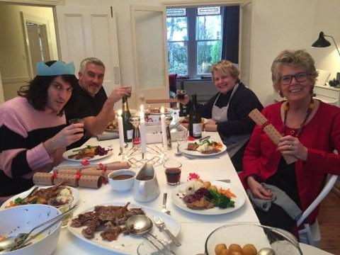 The Great British Bake Off team reunited for Christmas dinner round Sandi Toksvig's house