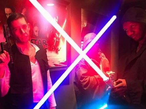 Giggs and Example get in the Star Wars spirit with lightsabers as they dress up for The Last Jedi
