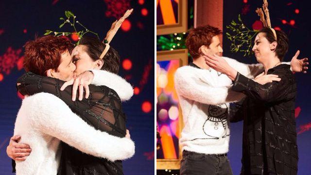 Miranda Hart and David Tennant share a festive kiss underneath the mistletoe for Christmas special
