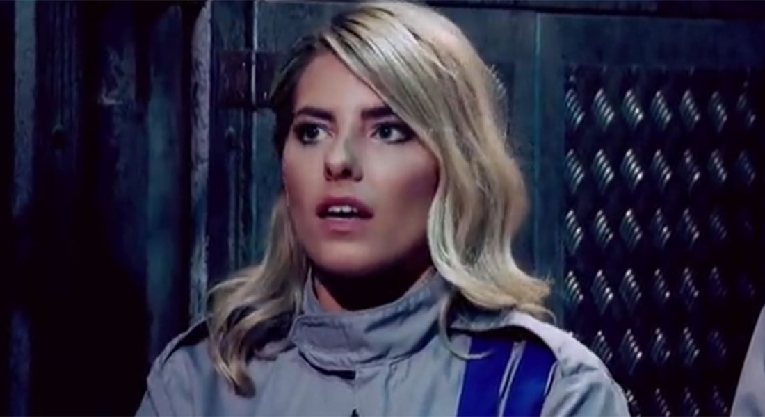Mollie King gets in a bit of a spin in the Crystal Maze Celebrity Special