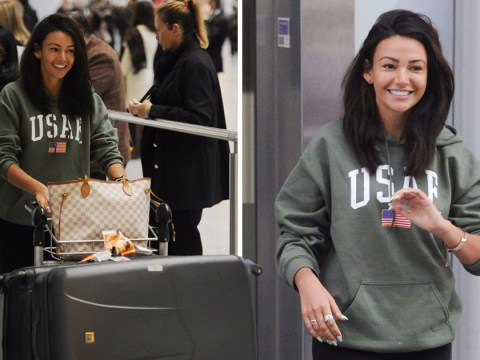Someone's happy to be back! Michelle Keegan touches down in London without wedding ring