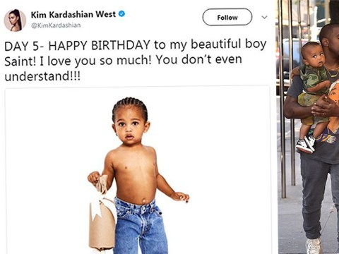 An adorable Saint West marks his 2nd birthday in the latest Kardashian Christmas card