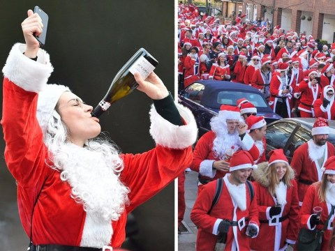 Binge-drinking Santas invade London for giant bar crawl