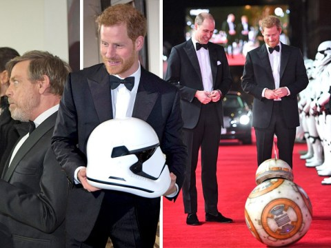 Prince William and Prince Harry meet Star Wars royalty BB-8 at The Last Jedi premiere
