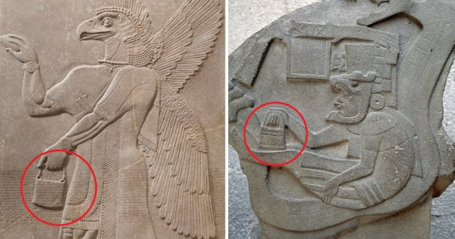 Mysterious 'handbags of the gods' spotted in ancient sculptures around the world