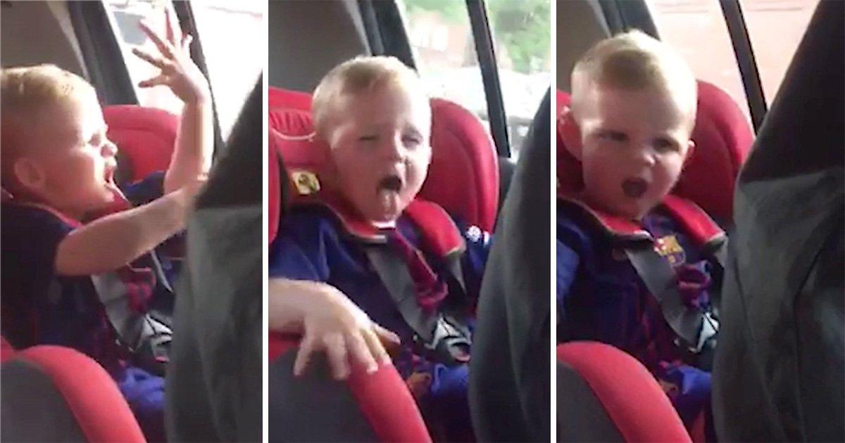 Little boy filmed having massive rave to jungle music in the car
