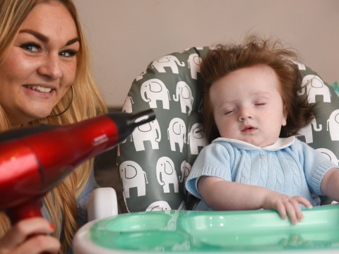 Five-month-old baby has so much hair his mum has to give him regular blowdries