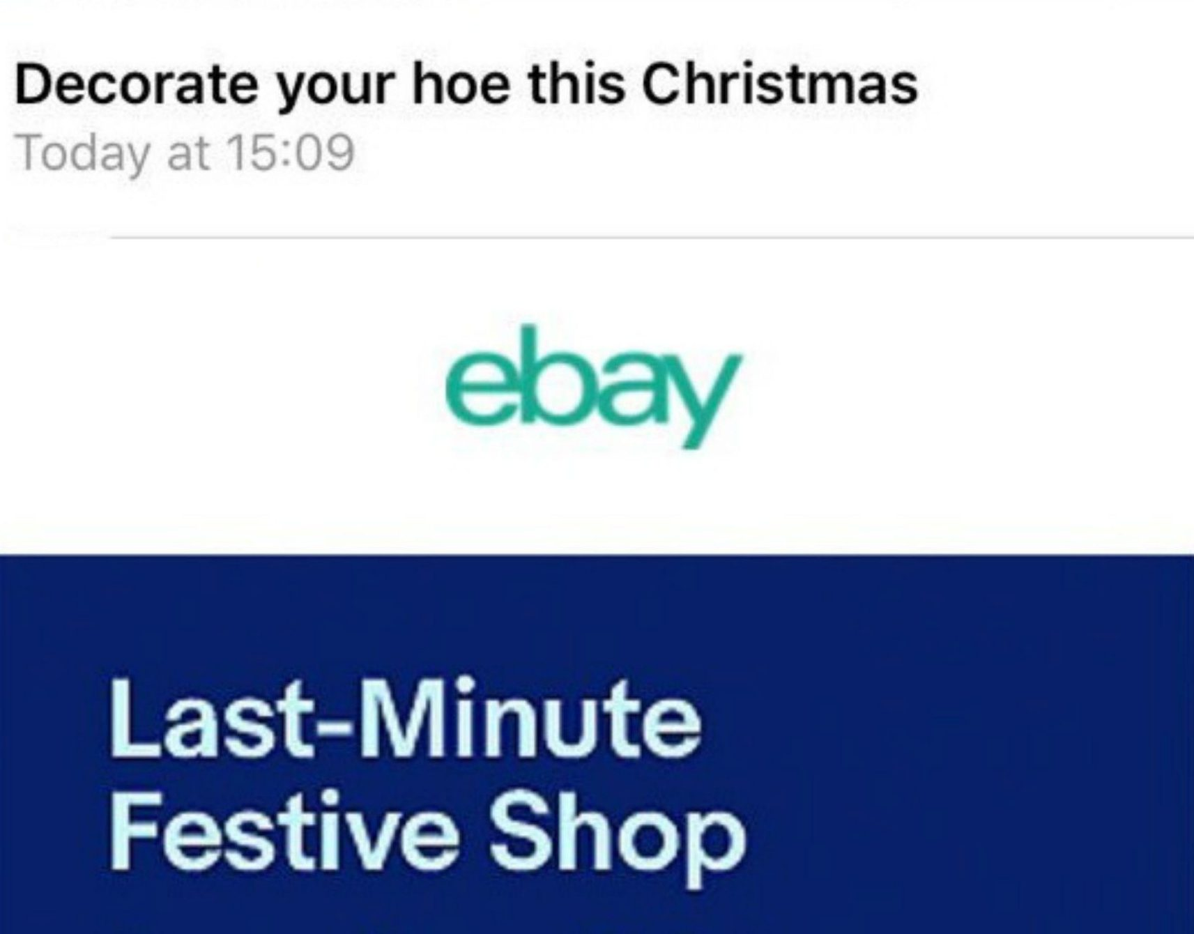 eBay just told customers to 'decorate your hoe this Christmas'