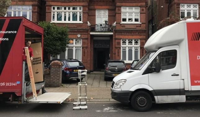 Moving van at Lily Allen flat